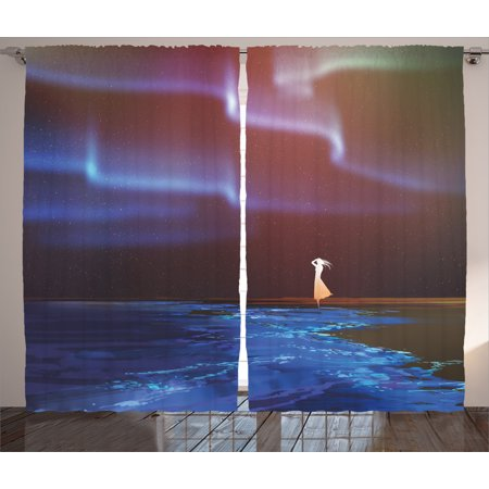 Fantasy Art House Decor Curtains 2 Panels Set, Woman on Beach Psychedelic Northern Lights Sky Star Picture Print, Window Drapes for Living Room Bedroom, 108W X 90L Inches, Blue Purple, by Ambesonne