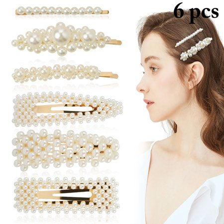 6PCS Pearl Hair Clips for Women Girls, Sweet Vintage Artificial Pearl Alligator Barrettes Bobby Pins Snap Bows Bridal Weeding Headwear Accessories ()