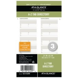 "AT-A-GLANCE Day Runner Letter Tabbed Telephone/Address Pages, Loose-Leaf, Undated, 3 3/4"" x 6 3/4"""