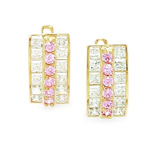 14k Yellow Gold October Pink Cubic Zirconia Triple Row Leverback Earrings Measures 13x6mm by Yellow-Gold Pins