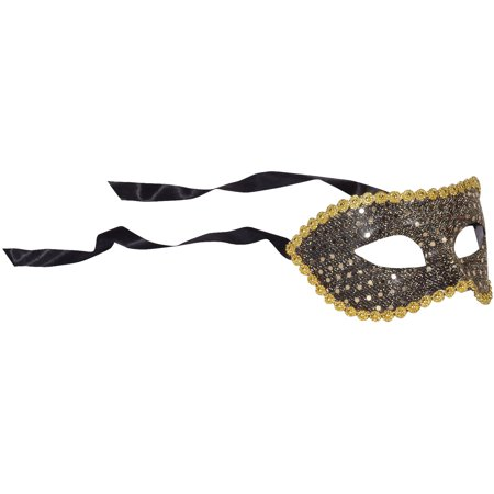 Star Power Adult Reflective Masquerade Half Mask, Black Gold, One Size