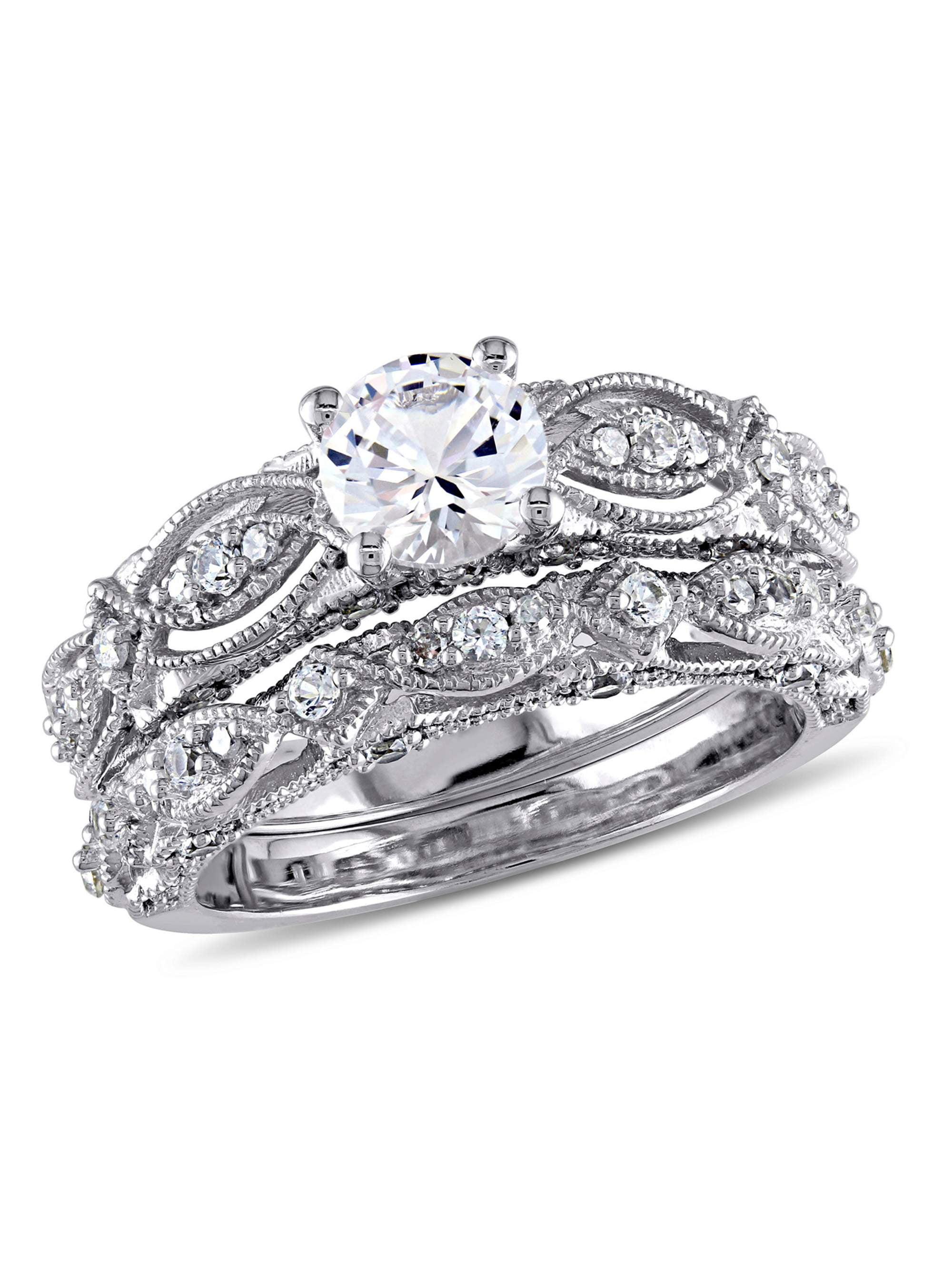 Miabella 1-3 4 Carat T.G.W. Created White Sapphire and 1 10 Carat T.W. Diamond 10kt White Gold Vintage Bridal Set by Delmar