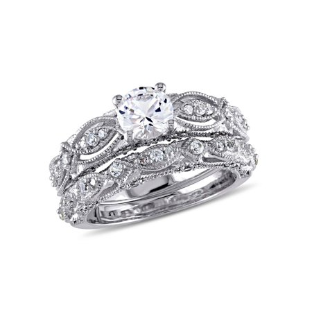 Vintage Bridal (Miabella 1-3/4 Carat T.G.W. Created White Sapphire and 1/10 Carat T.W. Diamond 10kt White Gold Vintage Bridal)