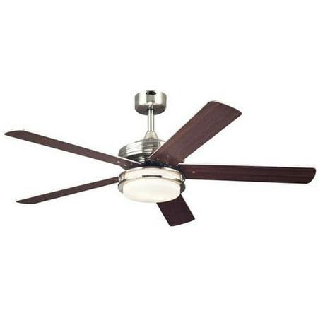 Castle 52 in. Reversible Five Blade Indoor Ceiling Fan with Light, Brushed Nickel
