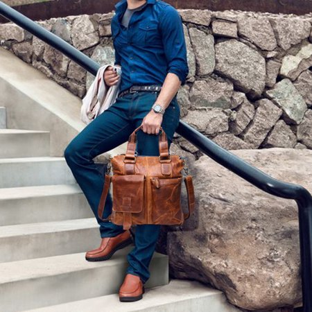 Tuscom Vintage Buffalo Leather Messenger Satchel Laptop Briefcase Men's Bag Crazy YE ()