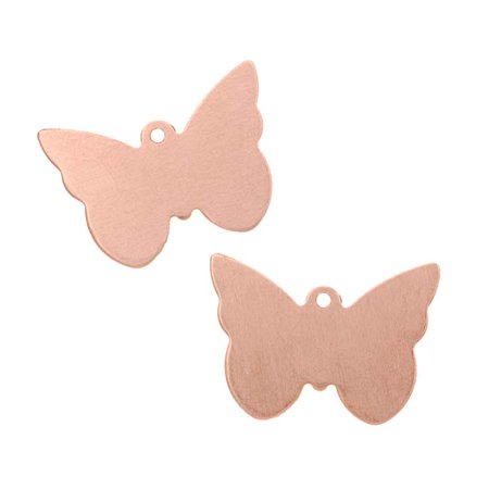Solid Copper Designer Pendant - Solid Copper Butterfly Stamping Blank Pendants 21x14.5mm (2)