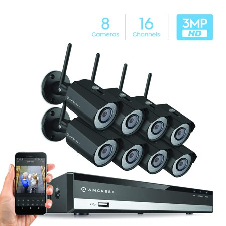 Amcrest 3MP Security Camera System w/ 4K 16CH NVR, (8) x 3-Megapixel IP67  Weatherproof Metal Bullet WiFi IP Cameras, (2304 x 1296P), Hard Drive Not