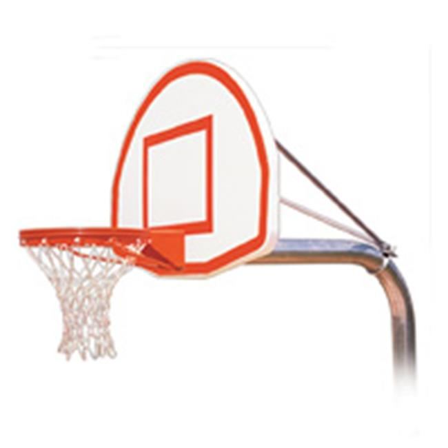 RuffNeck Max-EXT Steel-Aluminum In Ground Fixed Height Basketball System, Maroon