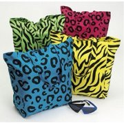 NEON ANIMAL PRINT COTTON TOTE