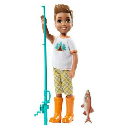 - Barbie Camping Fun Boy w/Fishing Pole, Boy doll is camping cool wearing a white t-shirt with colorful graphic, yellow and gray plaid shorts and orange boots By FisherPrice Ship from US