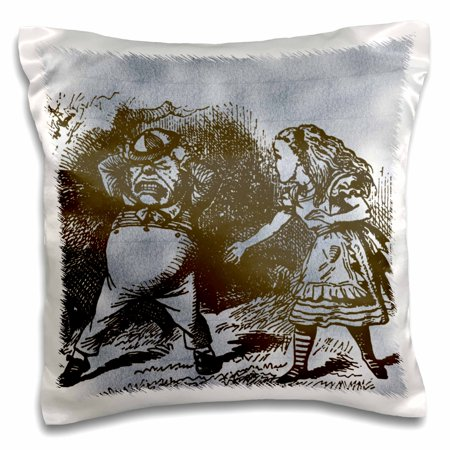 3dRose Alice in Wonderland Tweedle Dee and Dum Vintage, Pillow Case, 16 by 16-inch