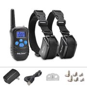 Petrainer PET998DRB2 Rechargeable and Rainproof 330 Yards LCD Remote 2 Dog Shock Training Collar with Static Shock, Vibration and Beep