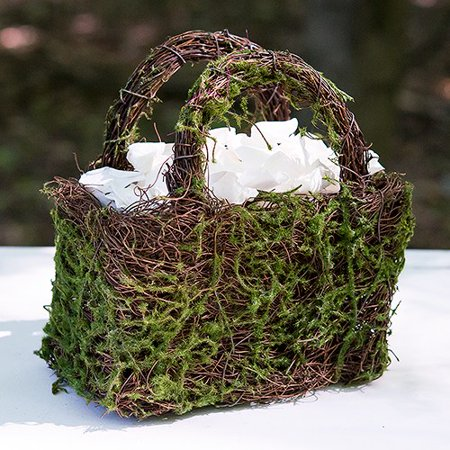 Faux Moss And Wicker Basket With Handles And Liner ()
