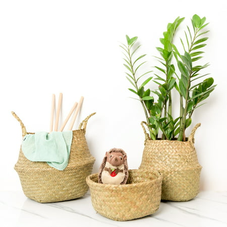 Foldable Natural Woven Seagrass Belly Basket Tote for Storage, Laundry, Picnic, Plant Pot Cover - Toto Basket