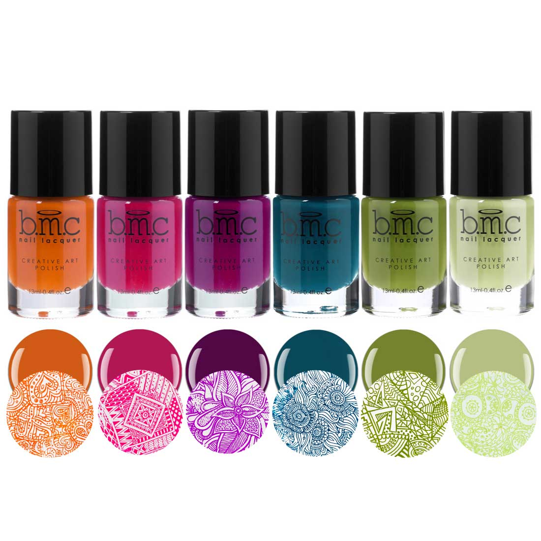 BMC Tropix Creamy Summer Fashion Creative Nail Art Stamping Polish Collection - 6 Colors