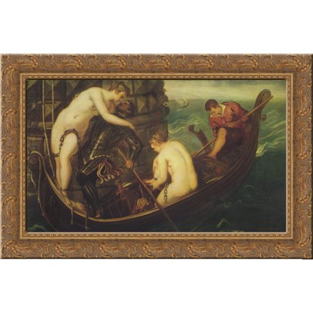 Rescue Of Arsinoe 24X16 Gold Ornate Wood Framed Canvas Art By Tintoretto
