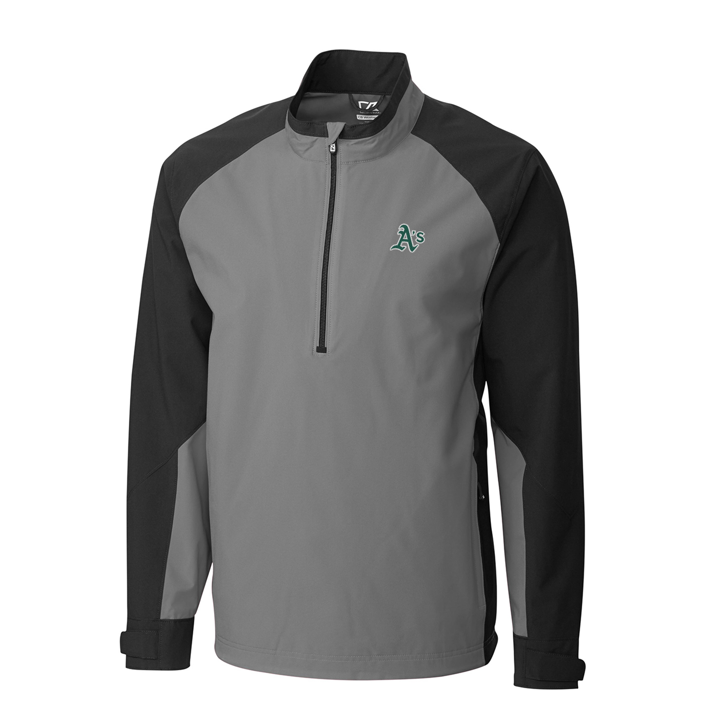 Men's Cutter & Buck Gray/Black Oakland Athletics Summit WeatherTec Half-Zip Pullover Jacket
