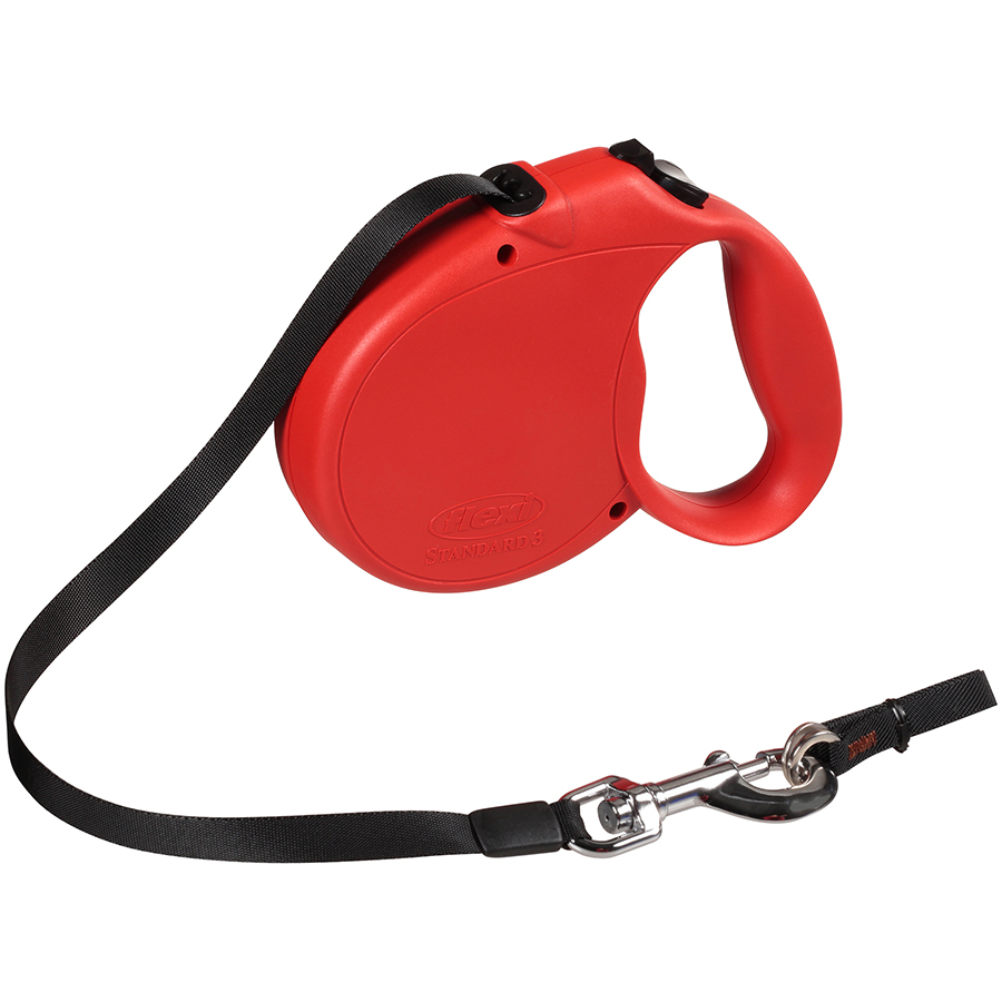 Flexi Retractable Dog Leash, 16 Ft. Tape Dog Walking Leash, Large for Dogs up to 110 Lbs. Red, Fast and Reliable 1-Hand Braking System with Permanent Braking Feature