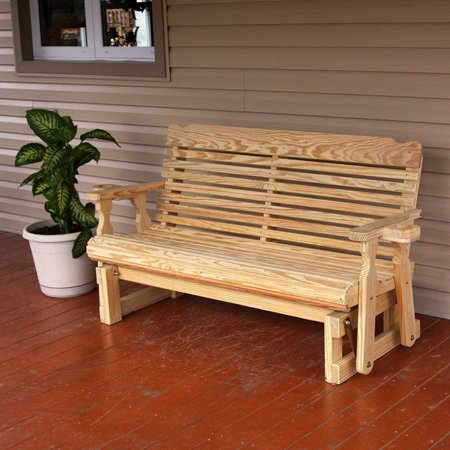 Amish Heavy Duty 800 Lb Classic Pressure Treated Porch Glider With Cupholders (4 Foot, Unfinished) 5 Foot Classic Glider