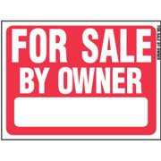 "Sign, ""for Sale By Owner"", Red & White Plastic, 18 X 24"", Hy-Ko, RS-605"