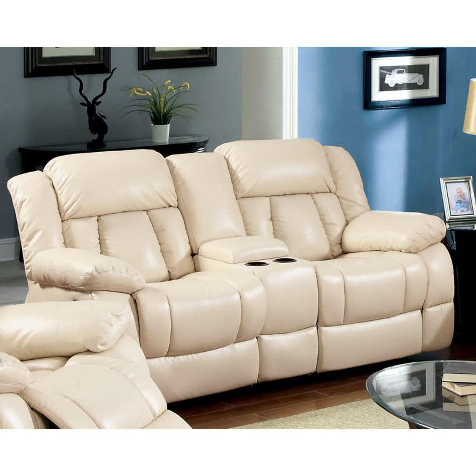 Furniture of America Rawene Bonded Leather Loveseat Recliner