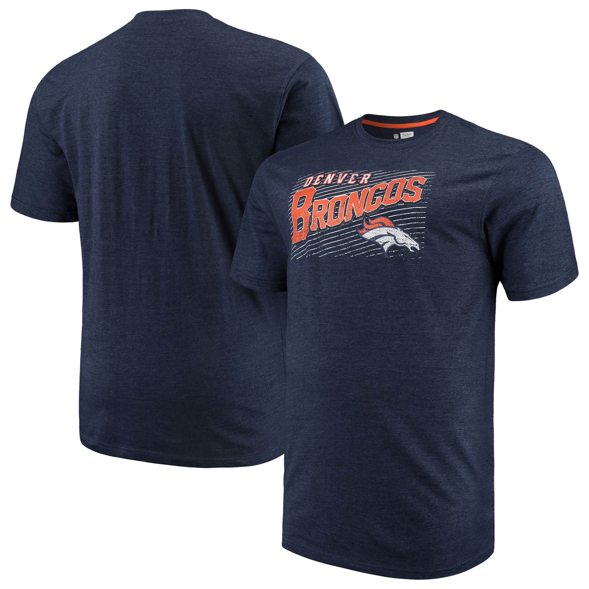 Men's Majestic Navy Denver Broncos Big & Tall Royal Domination Malt T-Shirt
