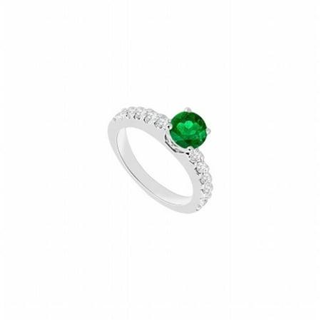 14K White Gold Emerald & Diamond Engagement Ring - 1 CT TGW , 12 Stones