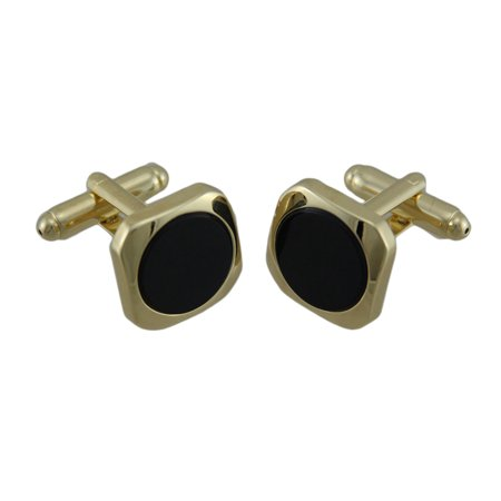 Gold Plated Inlaid Round Black Onyx Cufflinks