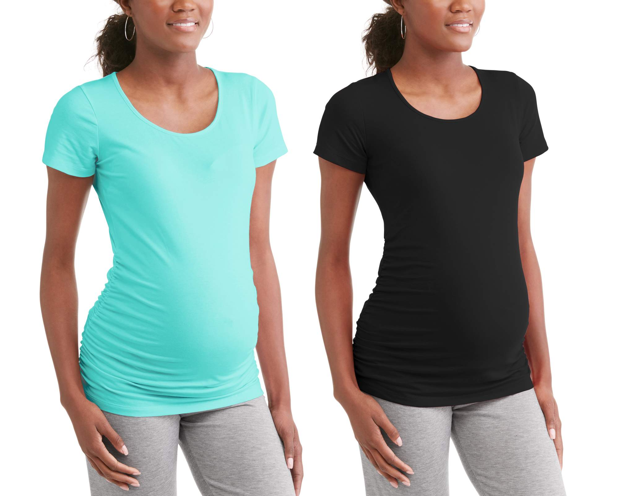 Maternity Scoop Neck Tee 2 Pack Available in Plus Sizes by I.E. Industries Fashsions, Inc