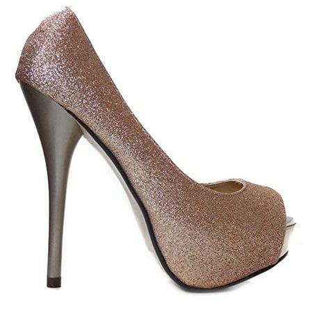 Stiletto Heel Neon Bottom Platform (Gold Glitter Peep Toe Platform Pump Stiletto)