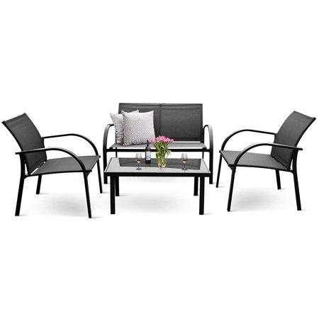 Costway 4PCS Patio Garden Furniture Set Steel Frame Outdoor Lawn Sofa Chairs Table, Black ()