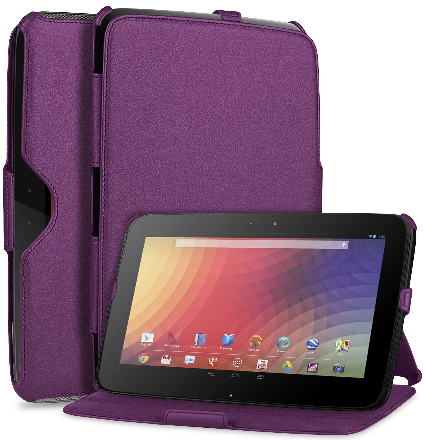 GreatShield VANTAGE Series Slim Fit Leather Folio Case Flip Cover with Multi Angle Stand + Sleep / Wake Function for Google Nexus 10 inch Android Tablet (Purple)