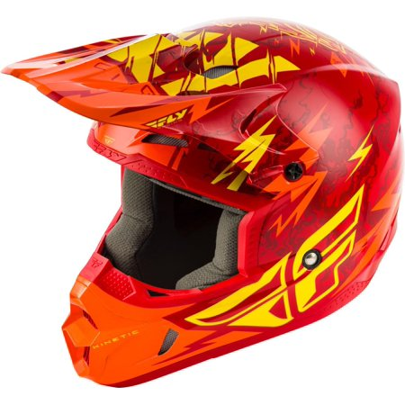 Fly Racing Kinetic Shocked Youth Helmet Red/Yellow (Red, Small)