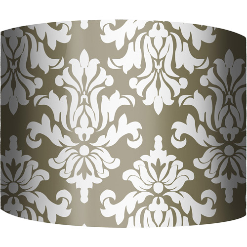 "12"" Drum Lampshade, Damask Khaki by"