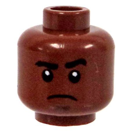 LEGO Minifigure Parts Dark Flesh Stern Look with Soul Patch