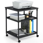 Costway 3-Tier Printer Stand Rolling Fax Cart w/ Adjustable Shelf & Swivel Wheel