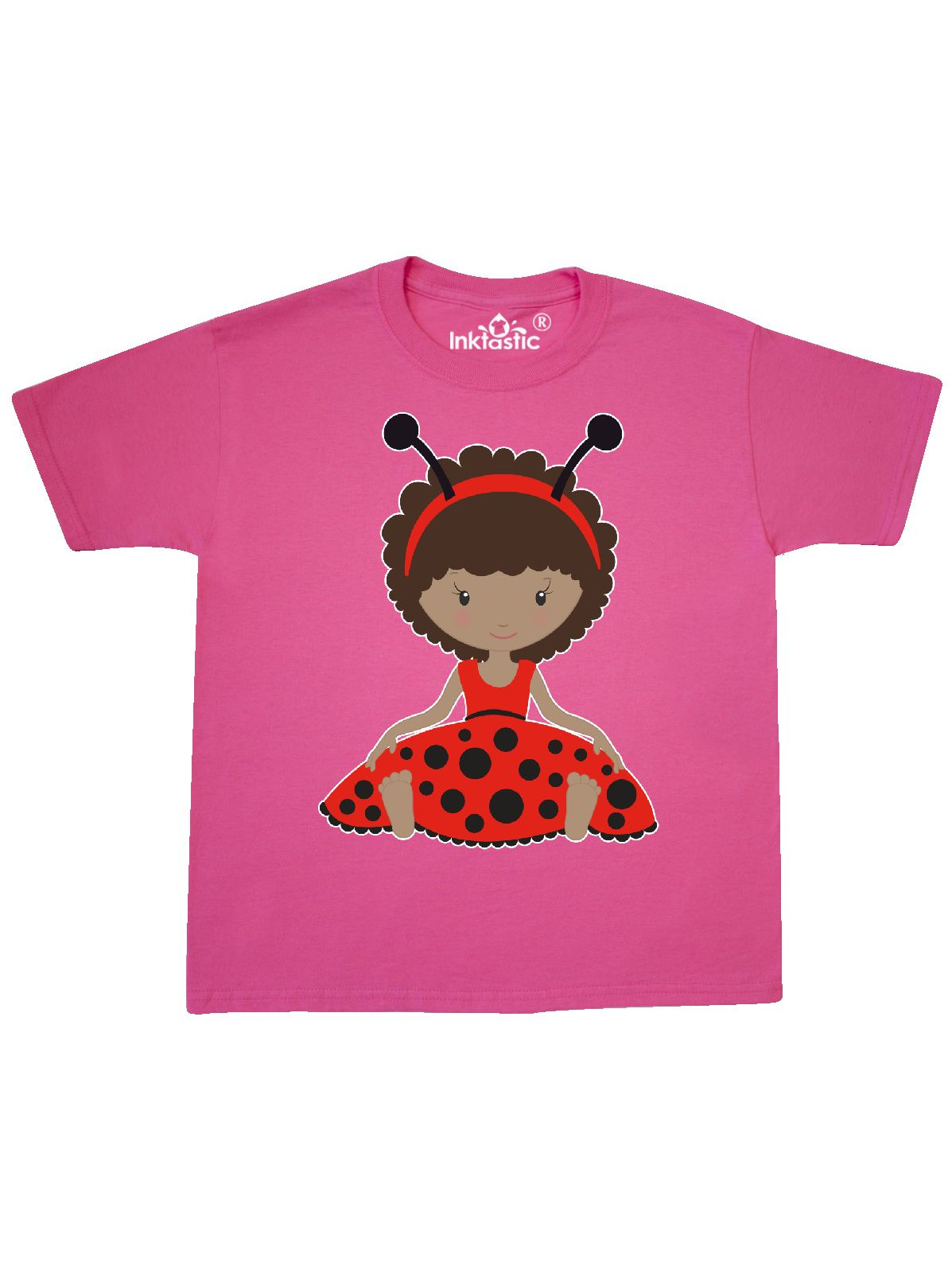 Ethnic Ladybug Girl in Red Dress Youth T-Shirt