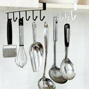 AUGIENB Mug Holder Coffee Tea Cup Rack Storage Kitchen Under Shelf Cabinet Hanger 6 Hooks, 0.98inch Wide,Black/White