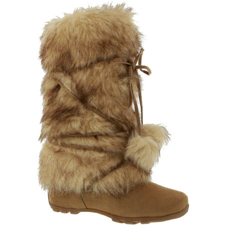 Talia-Hi Women Mukluk Faux Fur Boot Mid Calf Winter Snow Camel (Ka Für Hi)