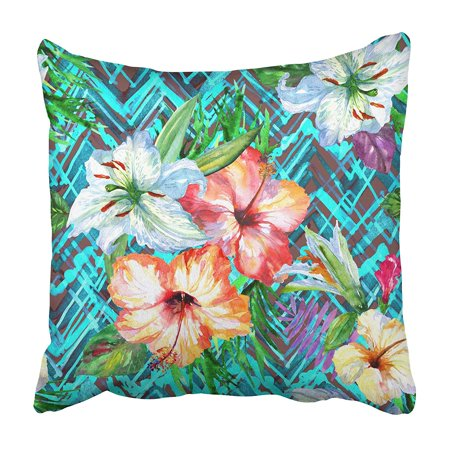 CMFUN Floral Tropical Bright Watercolor Painting on Tribal Ethnic Mod with Blossom Pillowcase 18x18 inch