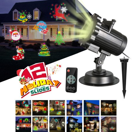 Halloween Projection Hd (Halloween Christmas Projector Lights, 16 Slides Waterproof IP65 Outdoor Landscape 6W Motion LED Projection Lights, 16ft Power Cable for Decoration Lighting on Holiday Birthday Wedding)