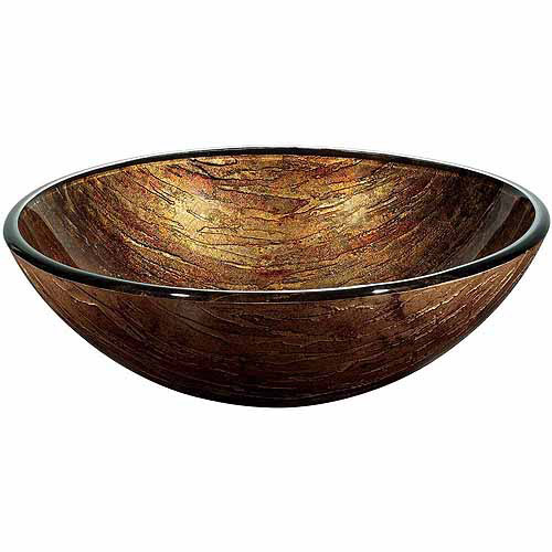 Vigo Glass Vessel Bathroom Sink, Amber Sunset