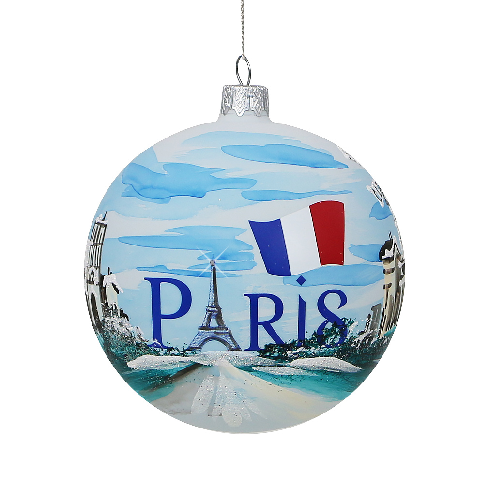 Paris Christmas Ornament - Eiffel Tower Glass Ball