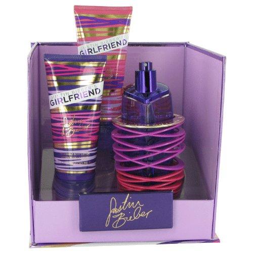 Girlfriend by Justin Bieber,Gift Set -- 3.4 oz Eau De Parfum Spray + 3.4 oz Body Lotion + 3.4 oz Shower Gel, For Women