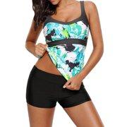 711ONLINESTORE Women Digital Print Boyshort Bottom Two Pieces Swimwear