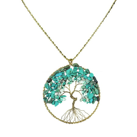 Reconstructed Stone - Reconstructed Turquoise Stone Eternal Tree of Life Brass Long Necklace