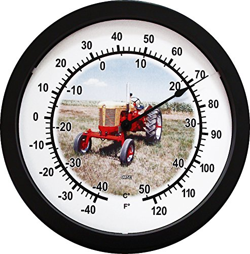 """New 14"""" Massive Yellow and Red Case Tractor Wall Thermometer 14 Inches Round"""