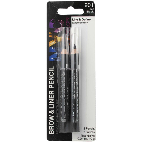 NYC New York Color Brow & Liner Pencils, Jet Black 901A, 0.04 oz, 2 count