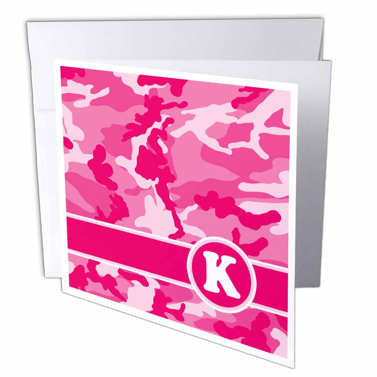 3dRose Cute Pink Camo Camouflage Letter K, Greeting Cards, 6 x 6 inches, set of 12