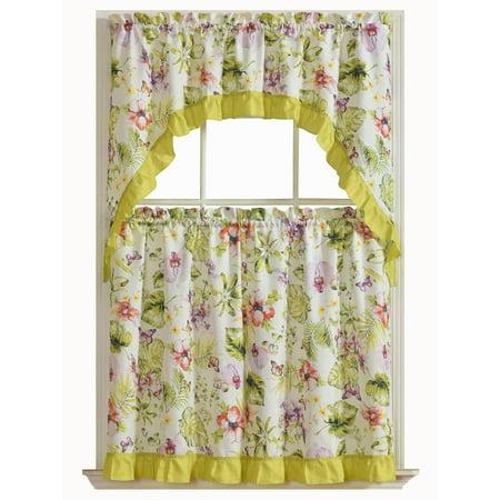 Tropical Floral 3 Pc. Complete Tier & Swag Valance Kitchen Curtain Set - Tropical Valances